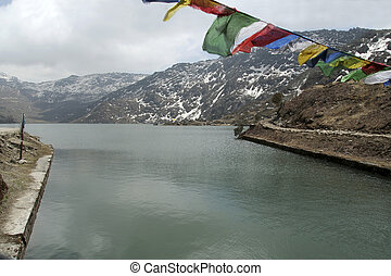 Holy Lake and Colourful Flags - Tsomgo Lake, 12400 feet...