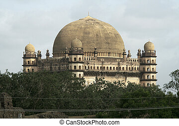 Magnificent Gol Gumbaz - Greenery partially obscuring...