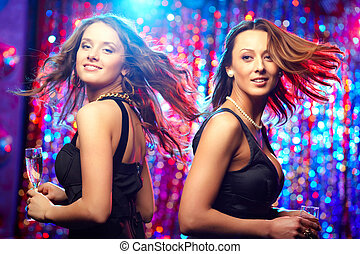 In motion - Image of adorable girls in motion enjoying...