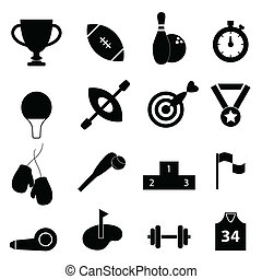 Sports related icon set in black