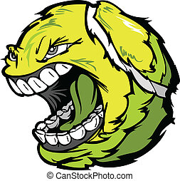 Tennis Ball Screaming Face Cartoon Vector Image - Vector...