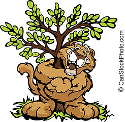 Graphic Vector Image of a Happy Cougar Mascot Hugging a Tree...