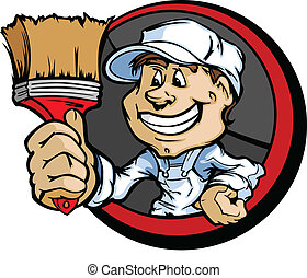 Happy Painter Contractor with Paint Brush Cartoon Vector...