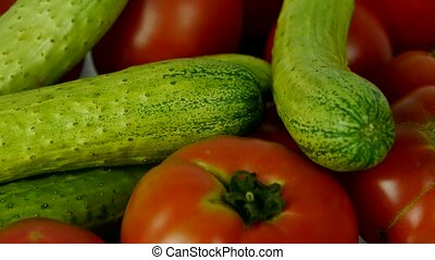 A set of fresh tomato & cucumber fruit vegetables.
