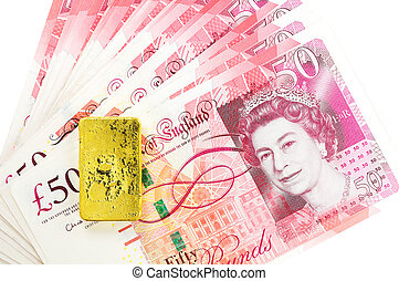 50 pound sterling bank notes closeup view business background