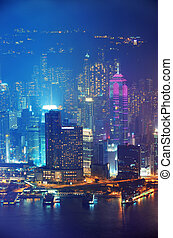Hong Kong aerial night
