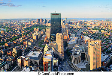 Boston aerial view - Urban city aerial view. Boston aerial...