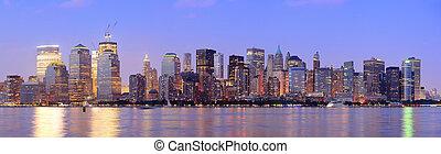 New York City Manhattan dusk panorama
