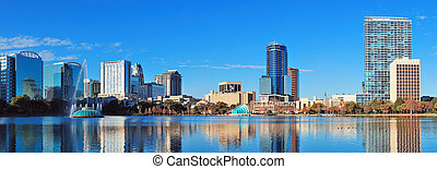 Orlando morning - Orlando Lake Eola in the morning with...