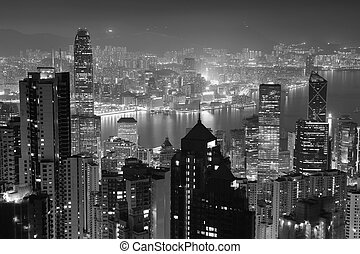 Hong Kong at night in black and white - Hong Kong city...