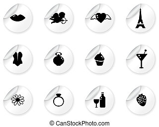 Stickers with romantic icons
