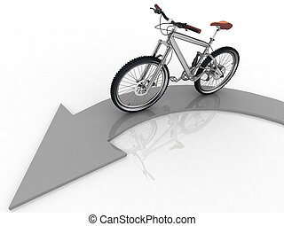 pointer of direction of motion of bicycle