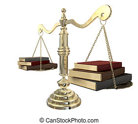Balancing The Books - A gold justice scale with three books...