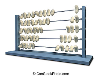 Bean Counting Abacus - An abacus that has white beans...