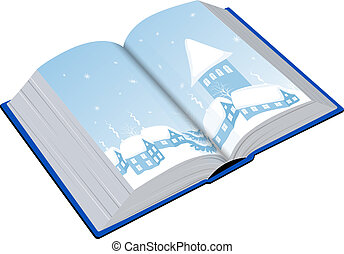 Open book with an illustration of the winter
