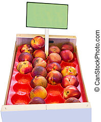 Nectarines - wooden box of nectarines for sale on the market...