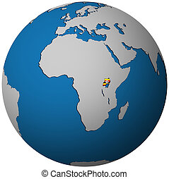 uganda flag on globe map - uganda territory with flag on map...
