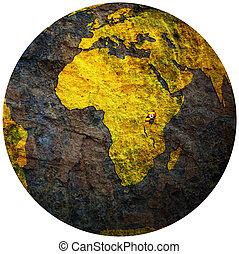 uganda flag on globe map