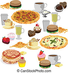 Seamless background of fast food - seamless background with...