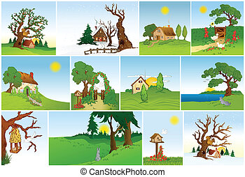 Set of natural backgrounds Vector - Set of natural...