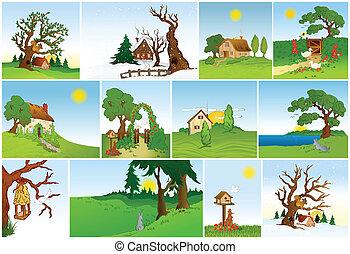 Set of natural backgrounds. Vector - Set of natural...