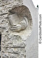 modern sculpture in stone tribute to literature