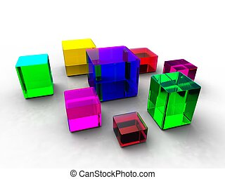 3d illustration of several different sizes of colorful cubes on white background