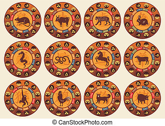 Chinese Zodiac Set - Chinese zodiac set with years and the...