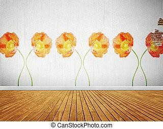 Vintage room with floral wallpaper