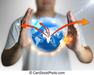 businessman holding global, connected