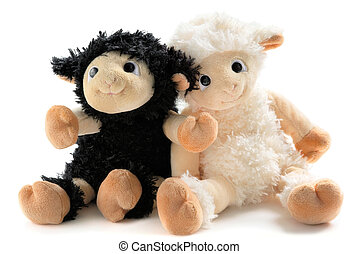Two cute stuffed animals - Two happy and sweet plush lambs,...