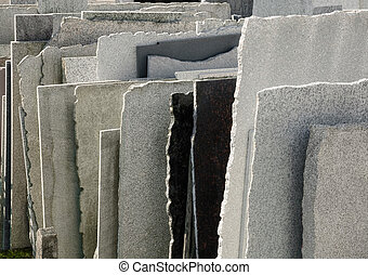 Natural stone panels - Row of natural stone panels in a...