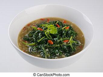 vegetal, sopa, branca, isolado