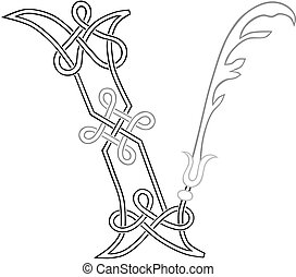 Celtic Letter V - A Celtic Knot-work Capital Letter V...