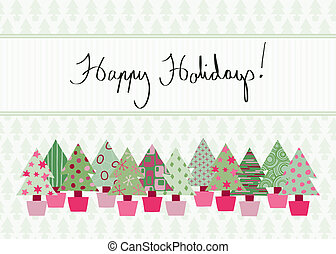Happy Holidays Card - Handwritten Happy Holidays Card in...