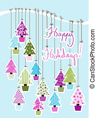 Happy Holidays Card - A Handwritten Happy Holidays Sign tied...