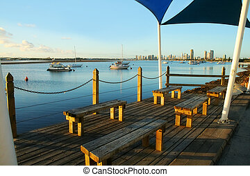 Broadwater Observation Deck - Shade sails over benches on...