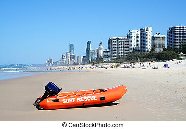 Surf Rescue Boat Surfers Paradise - Surf rescue boat against...
