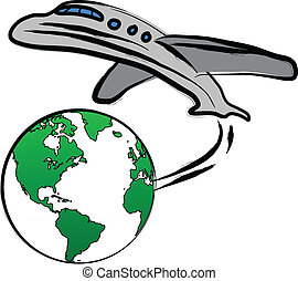 world travel - World travel concept: the Earth and a plane
