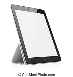 Black abstract tablet pc on white background, 3d render