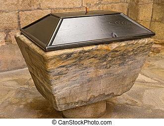 baptismal font - Entire marble baptismal font closeup,...