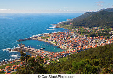 La Guardia town and atlantic ocean, spain