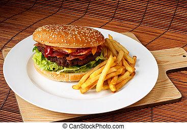 hechaa mano, tocino, cheeseburger
