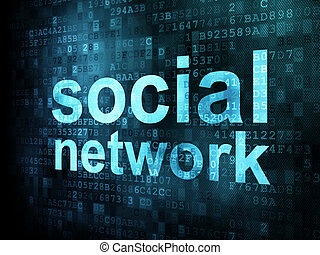 Social network on digital background on digital screen, 3d...