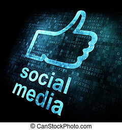 Like and words Social media on digital background