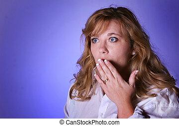 Shocking - Woman looking surprised or shocking expression....