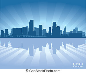 Miami, Florida skyline illustration with reflection in water