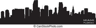 Miami, Florida skyline Detailed vector silhouette