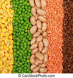 Beans, lentils, peas and corn in a row