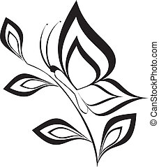 Butterfly silhouette.isolated illustration ,tattoo